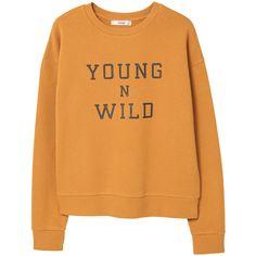MANGO Message cotton sweatshirt (7.520 HUF) ❤ liked on Polyvore featuring tops, hoodies, sweatshirts, sweaters, shirts, sweatshirt, orange long sleeve shirt, print long sleeve shirt, long sleeve cotton shirts and patterned shirts