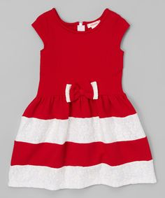 Love this Unik Red Lace Color Block Dress - Toddler & Girls by Unik on #zulily! #zulilyfinds
