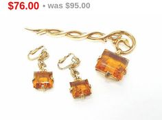 Signed Trifari  Pin & Earring Set Golden Citrine Pendant from Staff - Alfred Philippe Demi Parure by thejewelseeker on Etsy https://www.etsy.com/listing/271563831/signed-trifari-pin-earring-set-golden