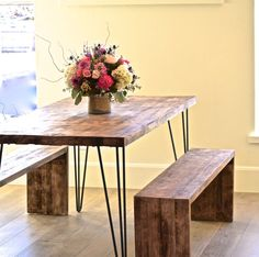 This in a beautiful handmade rustic dining table. Build with solid maple and 1/4 premium metal hairpin legs this table comes with a lifetime warranty. Benches are included in the price and are made to match the set. This table is for sure to me a conversational piece and is here to stay for the long run.