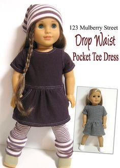 Drop Waist Pocket Tee Dress 18 inch Doll Clothes PDF Pattern Download   Pixie Faire