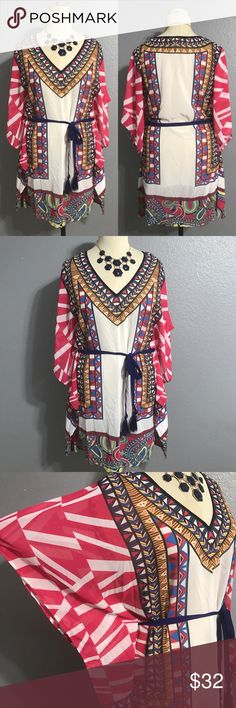 """🆕 Jealous Tomato Sheer BOHO Tie Cover Up L Large FEATURES:  🔘Brand: Jealous Tomato 🔘Kimono sleeves 🔘Fringe tie waistline  ITEM SPECIFICS:  🔘Length: 38"""" 🔘Bust: open 🔘Color: pink, white, blue, yellow 🔘Fabric: 100% polyester  🔘Condition: Excellent  4.2.32.0  ❌No trades ✔️Reasonable offers accepted ✔️Fast shipping - same day/next day 🛍Bundle discounts! 20% off 2; 30% off 3+  🚭Pet free/smoke free home. Flying Tomato Dresses"""
