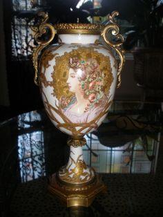 Exquisite Antique Sevres Porcelain Urn Vase Art Nouveau Portrait Woman Gilbert | eBay
