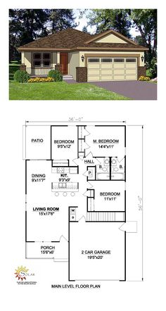 Southwest House Plan 94473 | Total Living Area: 1216 Sq. Ft., 3