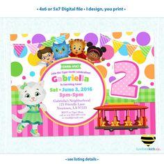 Daniel Tiger Invitation for Girls - Colorful Pink & Purple Dots - Style #016 - LuvibeeKidsCo