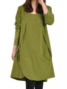 Asymmetrical Hem Slit Front Design Long Sleeve Loose Dress