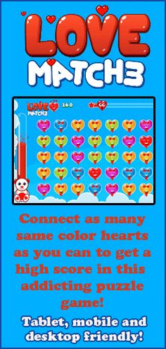A fun Valentine's themed game for kids of all ages. Play this addicting Match 3 game on your tablet, mobile device or desktop computer. A fun, free game by Squigly's Playhouse! Online Puzzle Games, Puzzle Games For Kids, Free Games For Kids, Fun Activities For Kids, Online Games, Fun Games, Games To Play, Valentines Games, Valentines Day Activities