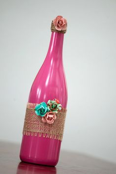 Bright pink painted wine bottle by ReclaimYourFaith on Etsy