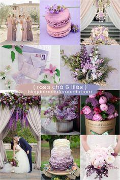 Decoração de Casamento : Paleta de Cores Rosa Chá e Lilás | Wedding Color Palette Rose and Lilac / Light Pink and Lilac / Blush and Lilac