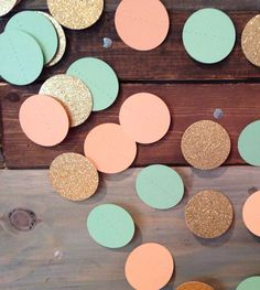 Mint Peach and Glittery Gold Wedding Decor by PartyMadePretty, $12.50