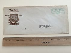 """Item: fc_19570628__1 Advertising cover approx. 4""""x 9 ½"""" (stamped envelope) Condition: very good, yellowing due to age and creases esp. on back  West-View 1518 Montana Avenue Santa Monica, California Quality Kodachrome Slides (logo)  Postage Meter: SANTA MONICA JUN 28'55 P.B. METER 116940 U.S. POSTAGE 03  Addressee: Catherine Warren 1233 Adoline Ave. Fresno, Calif."""