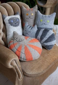 diy felted animals of cat cushions - Kissen crafts, home decoration