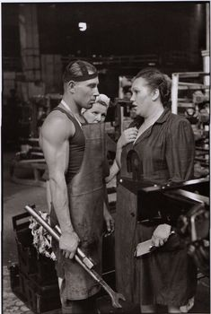 Worker and supervisor, car factory, Moscow, USSR, 1954