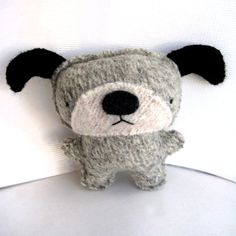 Oatmeal Gray Dog - Recycled Wool Plush Toy MADE TO ORDER. $18.00, via Etsy.