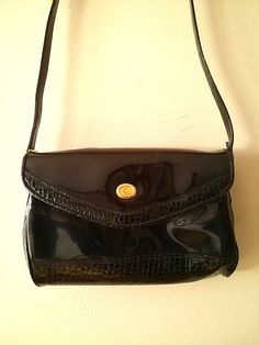Vintage 90's Black Goth Faux Croc Lined by LuckyCatCollective