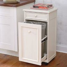 Hide away trash can... Brilliant!! :) | abide | Pinterest | Kitchens Kitchen Garbage Storage Ideas Html on paper storage ideas, kitchen garbage furniture, rice storage ideas, kitchen garbage cabinets, kitchen island with built in recycling,