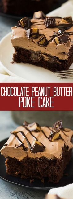 This Chocolate Peanut Butter Poke Cake is a chocolate cake soaked in peanut butter goodness! Then topped with a luscious chocolate whipped cream and peanut butter cups!   www.countrysidecravings.com