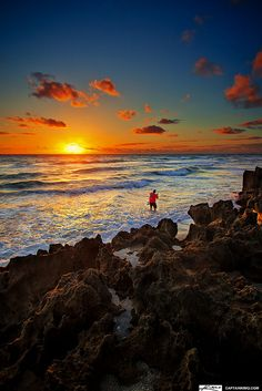 Fisherman Fishing in Ocean on Hutchinson Island Stuart Florida by Captain Kimo, via Flickr