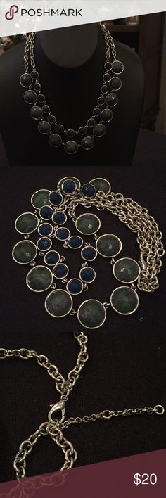 "Green and blue necklace Silver chain, green marbled bevels, smaller blue bevels 10"" Jewelry Necklaces"