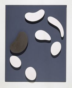 Hans Arp (1886-1966) – six-white-forms-and-one-gray-make-a-constellation-on-a-blue-ground (1953)