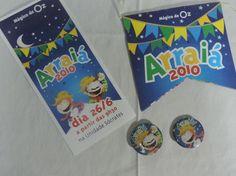 Convite, flyer e botons Arraiá – Festa Junina