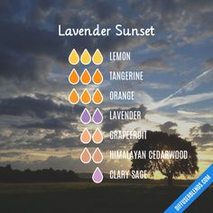 Lavender Sunset - Essential Oil Diffuser Blend Essential Oil Diffuser Blends, Essential Oils, Diffuser Recipes, Clary Sage, Healthy Tips, Grapefruit, Lavender, Perfume, Sunset