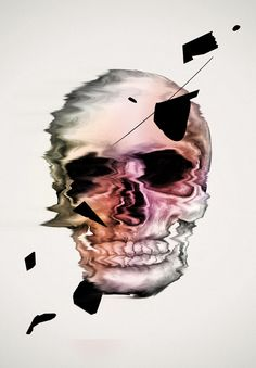 CONVENTIONS- COLOUR-limited palette -grey, pink and orange -translucent colours PATTERNS-blobs of black going diagonally down through the middle of the skull PLACING- skull in the middle of image  -blobs going diagonally down same spacing throughout