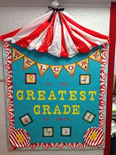 "Circus themed bulletin board- say ""school"" instead of grade Carnival Bulletin Boards, Circus Theme Classroom, Classroom Bulletin Boards, New Classroom, Classroom Displays, Preschool Classroom, Classroom Decor, Kindergarten, Circus Decorations"