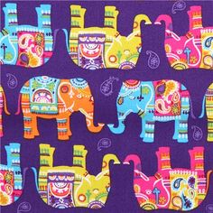purple elephant paisley animal fabric Timeless Treasures 1