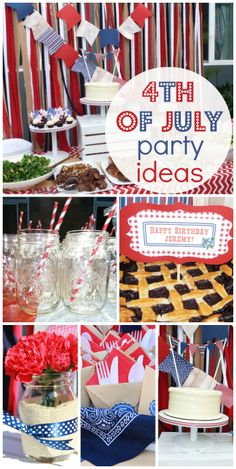 A patriotic rustic celebration with mason jars, banners and bandana party decorations! See more party ideas at CatchMyParty.com!