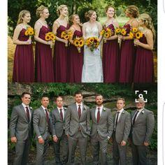 Sunflower theme wedding - Grey and maroon