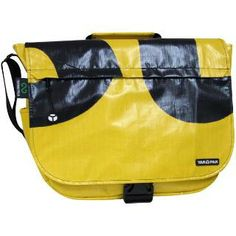 Billboard Fierce Messenger Bag  The TerraCycle Billboard Fierce Messenger Bag is the ultimate in eco-dialed-bodacity. This sturdy everyday messenger bag brings an eco-friendly twist to vinyl billboard. Each pack is crafted from a unique piece of billboard vinyl and a reclaimed seat belt. Designed with enough room and the strength to carry anything, your one-of-a-kind bag can make a hip green statement as bold as the billboard it came from.