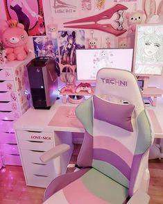 Cute Room Ideas, Cute Room Decor, Bedroom Setup, Room Ideas Bedroom, Gaming Room Setup, Pc Setup, Kawaii Bedroom, Otaku Room, Pastel Room