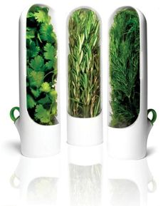 Prepara Herb-Savor Mini Pods Fits inside a typical refrigerator door while providing roomy herb storage capacity Herb stems sit slightly submerged in the water of the water-well, keeping them fresh BPA free and top rack dishwasher safe Kitchen Tools, Kitchen Gadgets, Kitchen Dining, Kitchen Products, Kitchen Stuff, Kitchen Inventions, Smart Kitchen, Kitchen Things, Kitchen Gifts