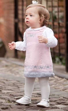 Luv U Forever Pinafore Dress - for kids Luv U Forever Pinafore Dress - Knitting pattern by OGE Knitwear Designs Christmas Knitting Patterns, Baby Knitting Patterns, Dress Design Patterns, Dress Designs, Pull Bebe, Baby Scarf, Dress Gloves, Pinafore Dress, Yarn Brands