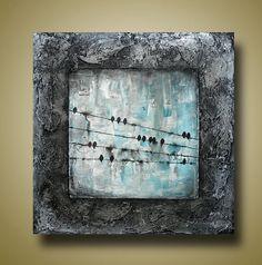 ORIGINAL Art Beautiful Abstract Painting of Birds by BrittsFineArt, $250.00
