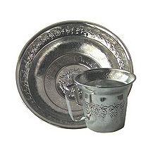 Netilat Yadayim Chrome Wash Cup and Optional Basin