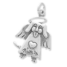 Sterling Silver Dog Angel Charm by jewelrymandave on Etsy, $22.95