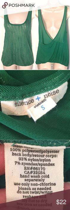 """❣BOGO 1/2 off❣ Silence + Noise sheer knit tank top Gorgeous green color. Mesh open back with soft knit front. Stretchy. Size small. Measures 24"""" long & 19"""" flat across bust. Excellent condition, no flaws. ❣Ask me how to BOGO HALF price! ✖️I do NOT MODEL✖️ 🔴Bundle to save! 🔴NO TRADES. 🔴REASONABLE offers welcome via offer button. 🔴Smoke-free home. Fast shipping! Urban Outfitters Tops Tank Tops"""