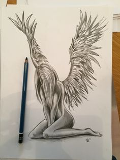 Angel tattoo pencil drawing