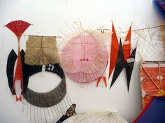 Anna Rubin, paper kite collection A spontaneous gallery display in the kite storage tent Sculpture Textile, Textile Art, Paper Art, Paper Crafts, Graffiti Artwork, Art Plastique, Origami, Contemporary Art, Illustration Art