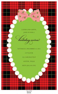 so cute~ Tartan, Pearls and Bowtie Invitation