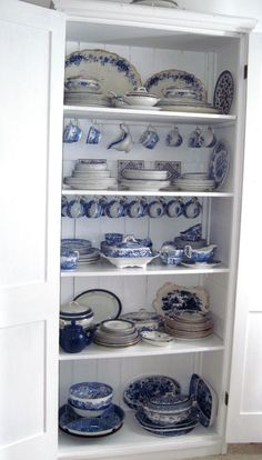 reminds me of Mimi. :) Lots of blue and white dishes in an old white cupboard Blue And White China, Blue China, China China, White Cupboards, Red Cottage, White Dishes, French Country House, Displaying Collections, Recycled Furniture