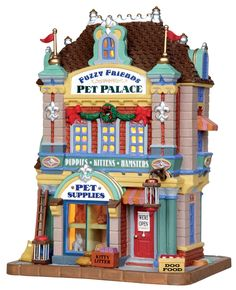 Lemax Fuzzy Friends Pet Palace - Miniature Christmas Village Light Up Store - Caddington Collection Christmas Village Lights, Christmas Town, Christmas Villages, Modern Christmas, Christmas Trees, Village Lemax, Pet Hotel, Light Building, Shops