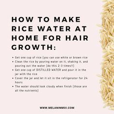 Hair troubles that you encounter daily. Many ways of hair masks you must know to apply in your daily life to provide the very best healthy hair look. Hair Growth Tips, Healthy Hair Growth, Diy Hair Care, Hair Care Tips, Natural Hair Care, Natural Hair Styles, Rice Water Recipe, How To Grow Your Hair Faster, Hair Remedies