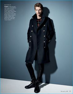 Tim Schuhmacher dons a double-breasted coat from Balmain for Goodman's Guide.
