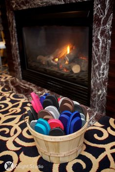 A basket of flip flops by the dance floor to kick off those high heels and start dancing!