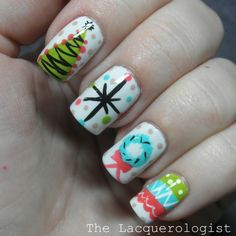 The Lacquerologist: Holiday Nail Art: Vintage Christmas Party