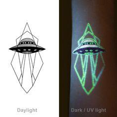 UFO Glow-in-dark flash tattoo