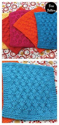 Dishcloth Knitting Patterns, Knit Dishcloth, Knit Patterns, Stitch Patterns, Free Childrens Knitting Patterns, Free Knitting, Knitting Ideas, Crochet Home, Knit Crochet